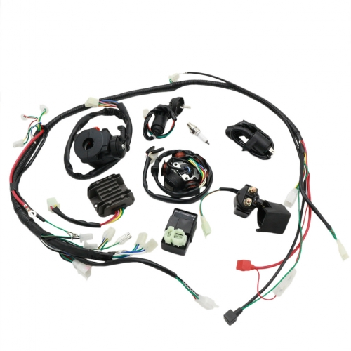 Complete Wiring Harness kit Electrics Wire Loom Assembly For GY6 4-Stroke Four wheelers Engine Type 125cc 150cc Pit Bike Scooter ATV Quad