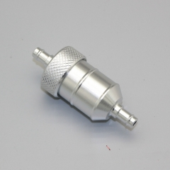 Universal 1/4''6mm Inline Gas Fuel Filter for Motorcycle Dirt Bike ATVSilver - Silver
