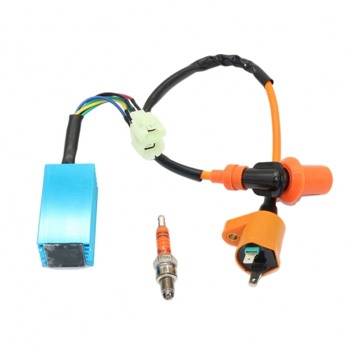 High Performance Racing Ignition Coil for Chinese 50cc 125cc 150cc Gy6 Moped Scooter ATV Go Kart with 6 Pins CDI and 3 Electrode Spark Plug