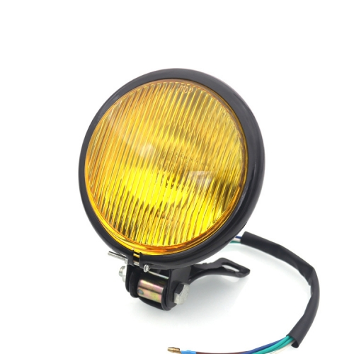 35W 12V Vintage Motorcycle Headlight Yellow Glass